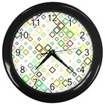 Square Colorful Geometric Style Wall Clock (Black) Front