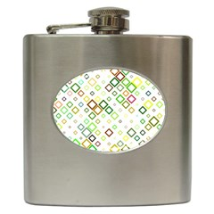 Square Colorful Geometric Style Hip Flask (6 Oz)