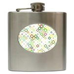 Square Colorful Geometric Style Hip Flask (6 oz) Front
