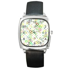 Square Colorful Geometric Style Square Metal Watch