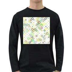 Square Colorful Geometric Style Long Sleeve Dark T Shirt