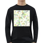 Square Colorful Geometric Style Long Sleeve Dark T-Shirt Front