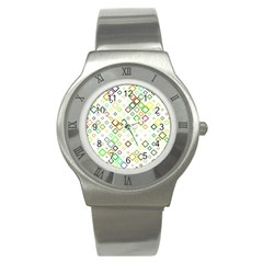 Square Colorful Geometric Style Stainless Steel Watch