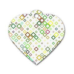 Square Colorful Geometric Style Dog Tag Heart (two Sides)
