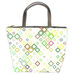 Square Colorful Geometric Style Bucket Bag