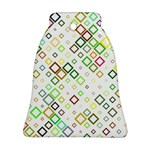 Square Colorful Geometric Style Bell Ornament (Two Sides) Front