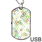 Square Colorful Geometric Style Dog Tag USB Flash (Two Sides) Front