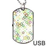 Square Colorful Geometric Style Dog Tag USB Flash (Two Sides) Back