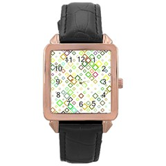 Square Colorful Geometric Style Rose Gold Leather Watch