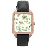 Square Colorful Geometric Style Rose Gold Leather Watch  Front