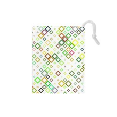 Square Colorful Geometric Style Drawstring Pouch (small)