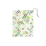 Square Colorful Geometric Style Drawstring Pouch (Small) Front