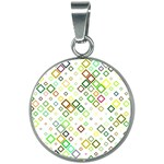 Square Colorful Geometric Style 20mm Round Necklace Front