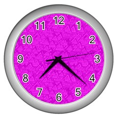 Triangle Pattern Seamless Color Wall Clock (silver)