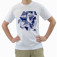 Triangle Blue Men s T Shirt (white) (two Sided)