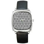 Ornamental Checkerboard Square Metal Watch Front