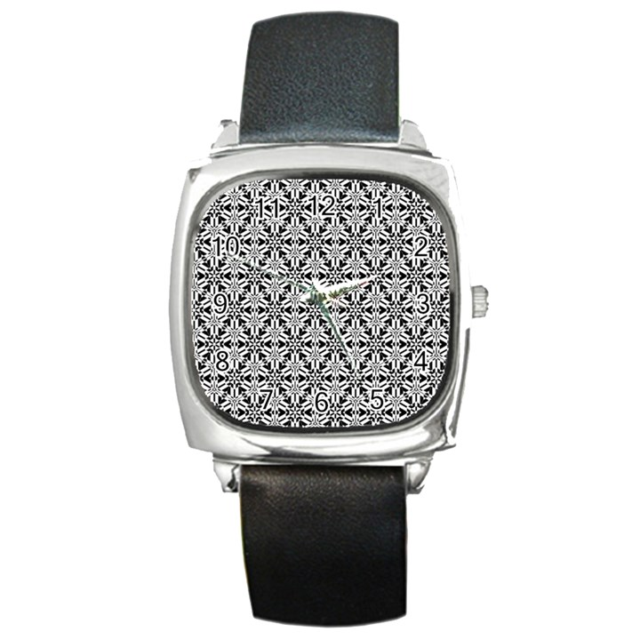 Ornamental Checkerboard Square Metal Watch