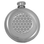 Ornamental Checkerboard Round Hip Flask (5 oz) Front