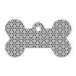 Ornamental Checkerboard Dog Tag Bone (Two Sides) Front