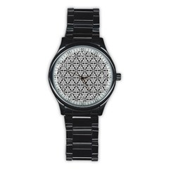 Ornamental Checkerboard Stainless Steel Round Watch by Mariart