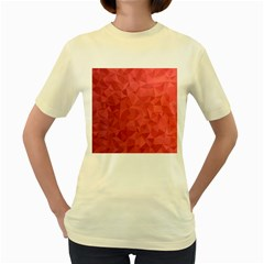 Triangle Background Abstract Women s Yellow T-Shirt