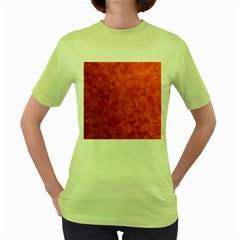 Triangle Background Abstract Women s Green T-Shirt