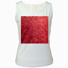 Triangle Background Abstract Women s White Tank Top