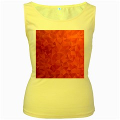 Triangle Background Abstract Women s Yellow Tank Top