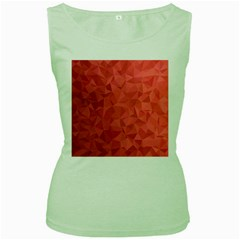 Triangle Background Abstract Women s Green Tank Top