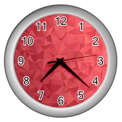 Triangle Background Abstract Wall Clock (Silver)