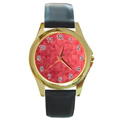 Triangle Background Abstract Round Gold Metal Watch