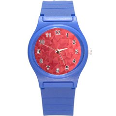 Triangle Background Abstract Round Plastic Sport Watch (S)