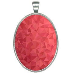 Triangle Background Abstract Oval Necklace
