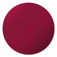 Red Black Pattern Background Magnet 5  (round)