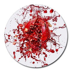 Red Pomegranate Fried Fruit Juice Round Mousepads by Mariart