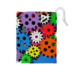The Gears Are Turning Drawstring Pouch (large)