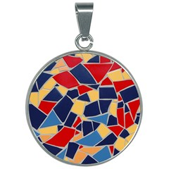 Pattern Tile Wall Background 30mm Round Necklace by Pakrebo