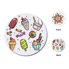 Doodle Cartoon Drawn Cone Food Playing Cards (round) by Pakrebo