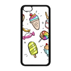 Doodle Cartoon Drawn Cone Food Apple Iphone 5c Seamless Case (black)