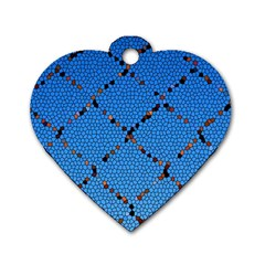 Pattern Structure Background Blue Dog Tag Heart (one Side)