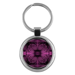 Fractal Magenta Pattern Geometry Key Chains (round)  by Pakrebo