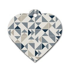 Geometric Triangle Modern Mosaic Dog Tag Heart (two Sides)