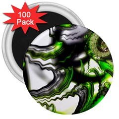 Fractal Green Trumpet Trump 3  Magnets (100 Pack) by Pakrebo
