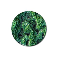 Green Pattern Background Abstract Magnet 3  (round)