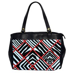 Model Abstract Texture Geometric Oversize Office Handbag (2 Sides)