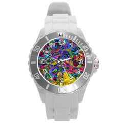 Pattern Structure Background Round Plastic Sport Watch (l)