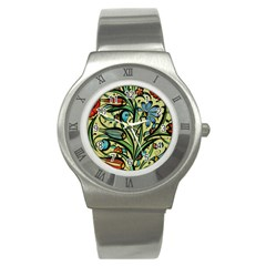 Mosaic Tile Art Ceramic Colorful Stainless Steel Watch