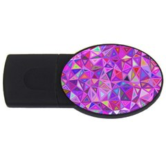 Pink Triangle Background Abstract Usb Flash Drive Oval (4 Gb) by Pakrebo