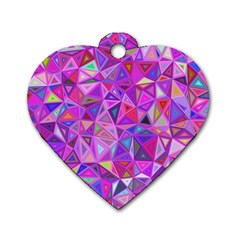 Pink Triangle Background Abstract Dog Tag Heart (two Sides)