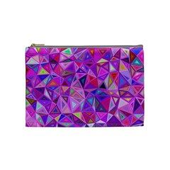 Pink Triangle Background Abstract Cosmetic Bag (medium) by Pakrebo